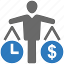 balance, budget estimate, money, project, seo, time icon