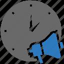 clock, marketing, megaphone, promotion, seo, time icon