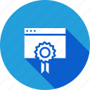 badge, favorite, prize, seo tool, star, window, winning icon