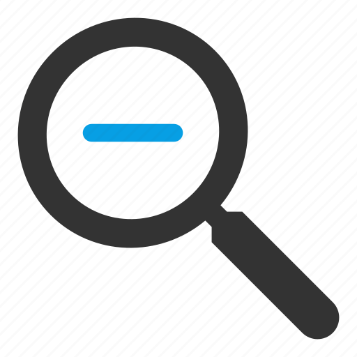 find, glass, magnifying, minus, search, searching icon