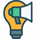 ads, advertising, campaign, idea, light bulb, marketing, promotion icon