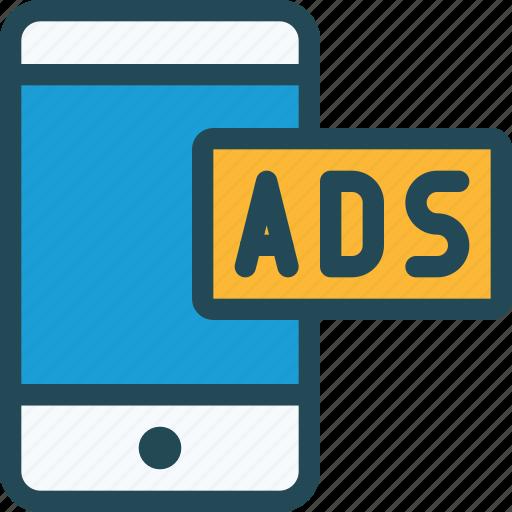 ads, advertising, marketing, mobile, monetization, phone, promotion icon