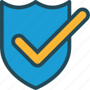 accept, brand, checkmark, protect, safe, secure, shield icon