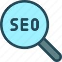 audit, examine, explore, magnifier, optimisation, search engine, seo icon