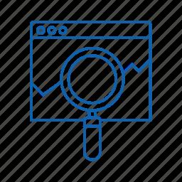 magnifier, page, seo, web icon