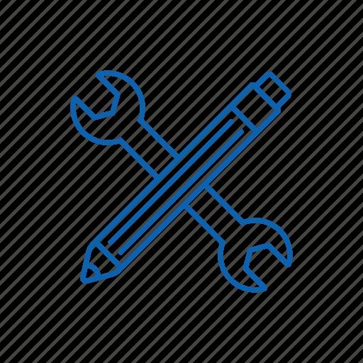 key, pen, seo, web, wrench icon