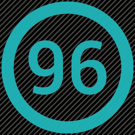 circle, ninty, number, six icon