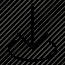 area, arrow, direction, down arrow, download icon