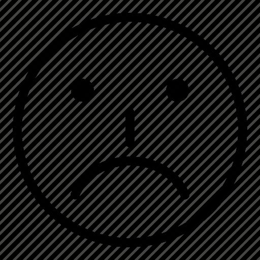 cartoon, emoticon, emoticons, face, sad, smile icon
