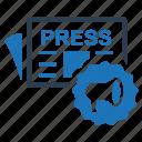 press, press conference, release icon
