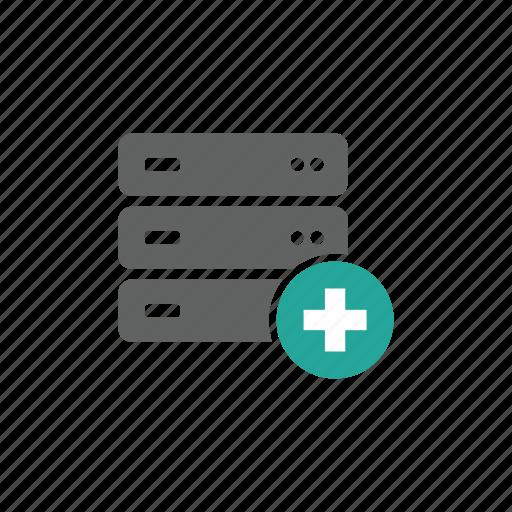 add, database, hardware, network, new, plus, server icon