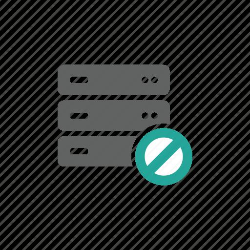 database, error, prohibit, security, server, warning icon