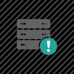 database, error, exclamation sign, hardware, network, server, warning icon