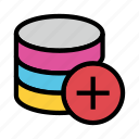 add, database, plus, server, storage icon
