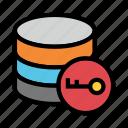 database, datacenter, key, lock, server icon