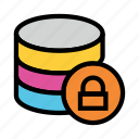 database, lock, protection, secure, server icon
