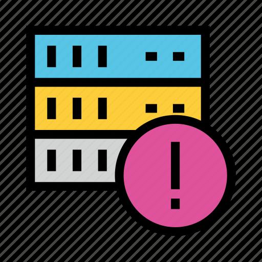 database, error, exclamation, server, storge icon