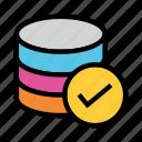 done, mianframe, server, storage, tick icon