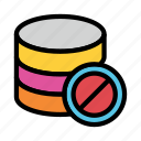 ban, block, database, datacenter, server icon