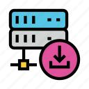 database, download, mainframe, server, storage icon