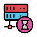 database, hourglass, server, share, stopwatch