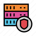 database, protection, security, server, shield icon