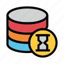 database, hourglass, server, storage, timer icon