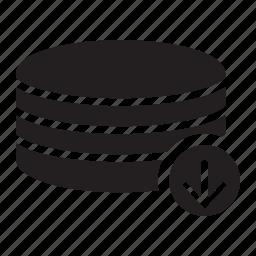 arrow, down, server, technology icon