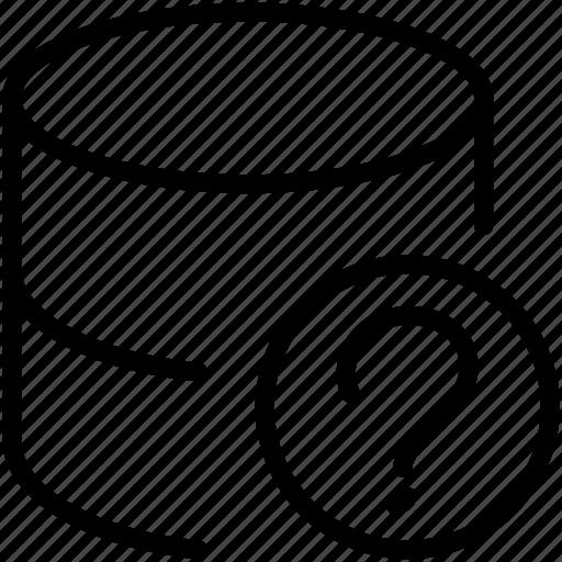 data, database, dbms, ordbms, questionmark, rdbms, storage icon