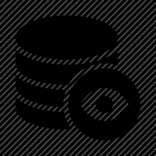 database, eye, server, storage, view icon