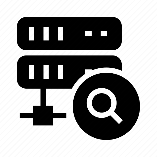 glass, magnifier, search, server, storage icon
