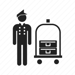 bellboy, bellhop, carrier, client, courier, delivery, people, suitcase icon