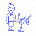 broom, broomstick, bucket, cleaning, female, floor, janitor, mop, services, tidy, up, worker icon