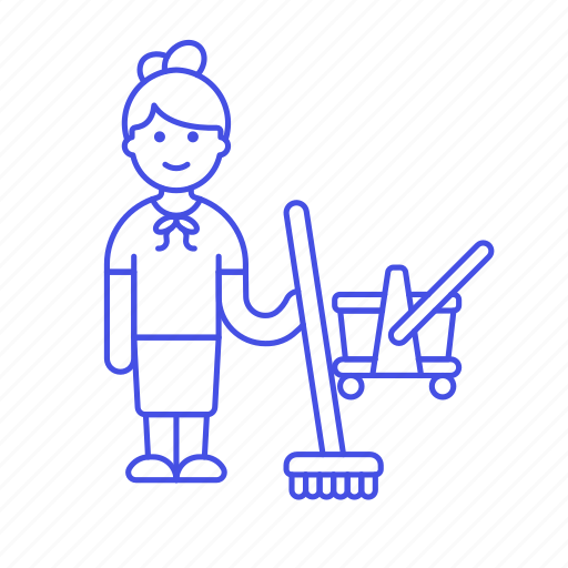 1, broom, broomstick, bucket, cleaning, female, floor, janitor, mop, services, tidy, up, worker icon