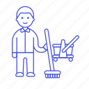 cleaning, bucket, male, tidy, floor, up, mop, janitor, worker, services, broomstick, broom icon