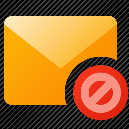 block, error, mail, message, post, spam icon