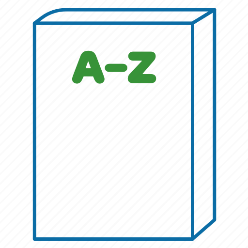 catalog, directory, document, from a to z, handbook, products icon