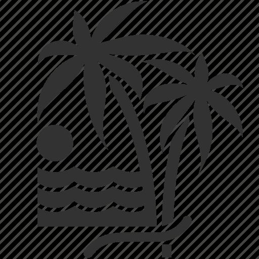 Sun, hotel service, beach, recreation, travel icon