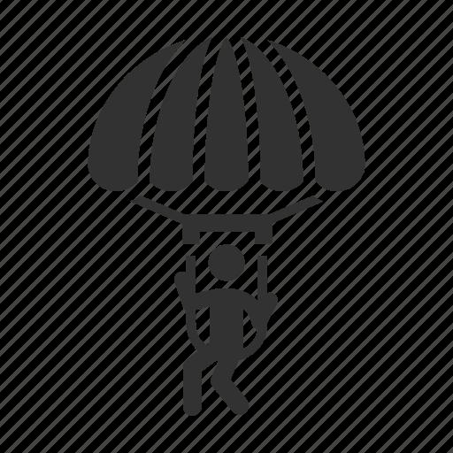 Parachutist, sport, skydiver icon