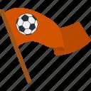 ball, banner, cheerful, fan, flag, football, soccer icon