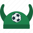 design, fan, football, hat, horn, soccer icon