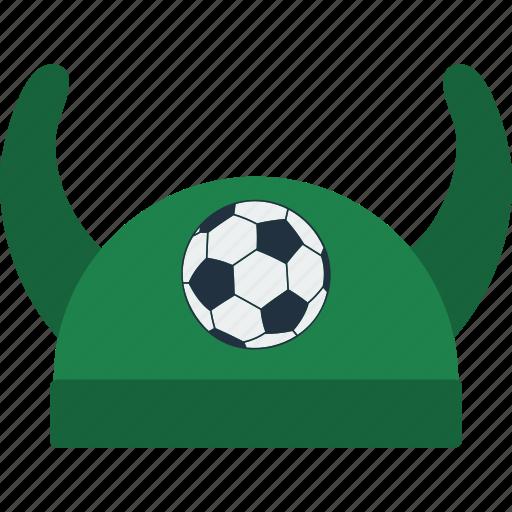 design, fan, football, hat, horn, soccer icon