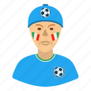 design, fan, football, italy, man, soccer icon