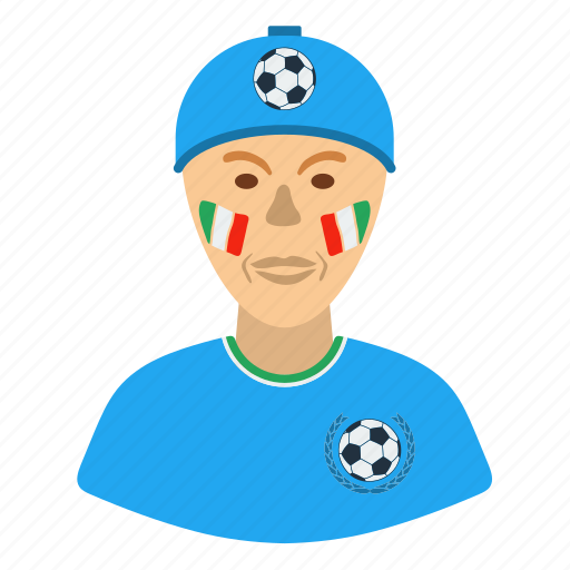 design, fan, football, italy, man, soccer icon