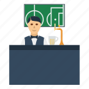 bar, barman, beer, design, football, soccer icon