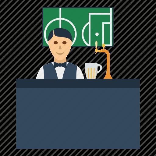 bar, barman, beer, design, football, soccer icon