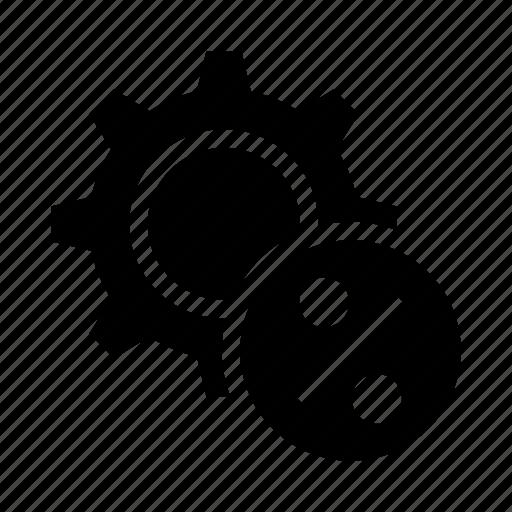 configuration, gear, option, percentage, setting icon