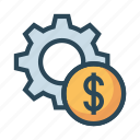 configuration, dollar, gear, option, setting icon
