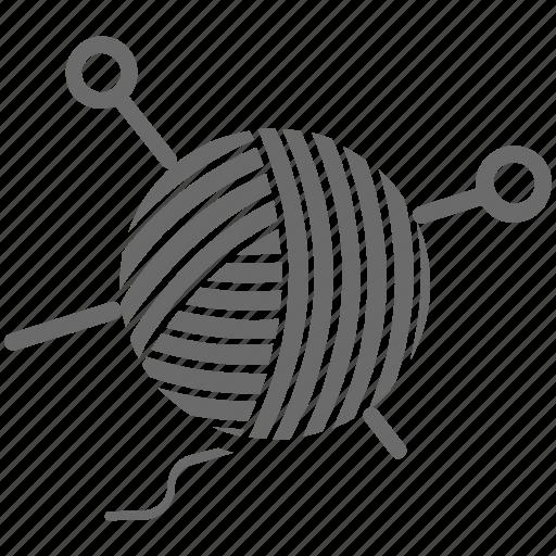 knitting, knitting needle, knitting yarn, sewing, thread ball icon