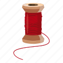 cartoon, household, needle, repair, safety, tailor, wooden spool icon